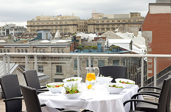 Signature suite roftop terrace 509 of the Le Saint-Sulpice Hôtel Montréal