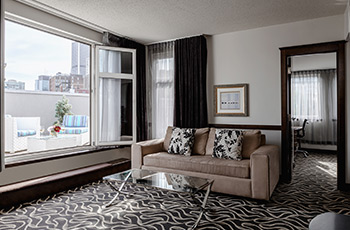 Signature suite with private terrace at Le Saint-Sulpice Hôtel Montréal