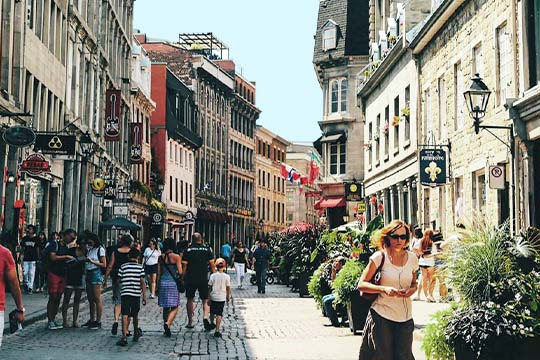 Street of Montreal Old Port, Le Saint-Sulpice Hotel